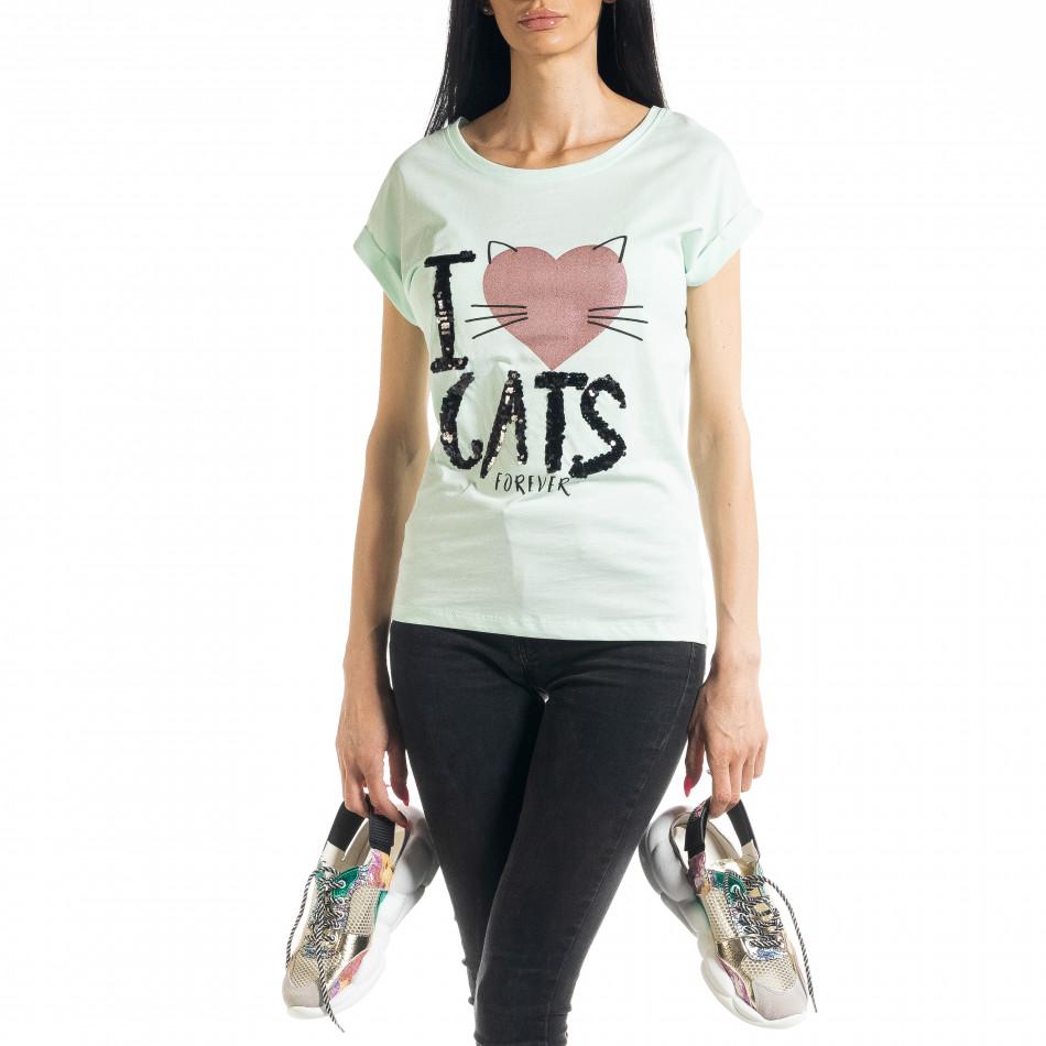 Дамска тениска с пайети цвят мента il080620-4