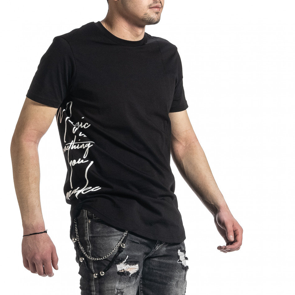 Мъжка черна тениска страничен принт tr270221-50