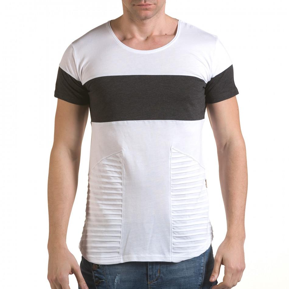 Мъжка бяла тениска с тъмно сива лента il170216-74