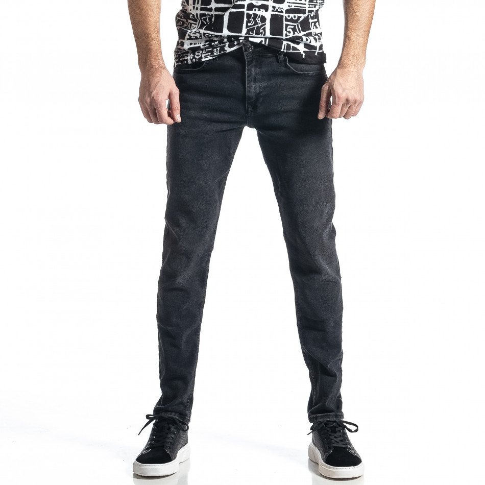 Long Slim дънки плътен деним в черно tr010221-29