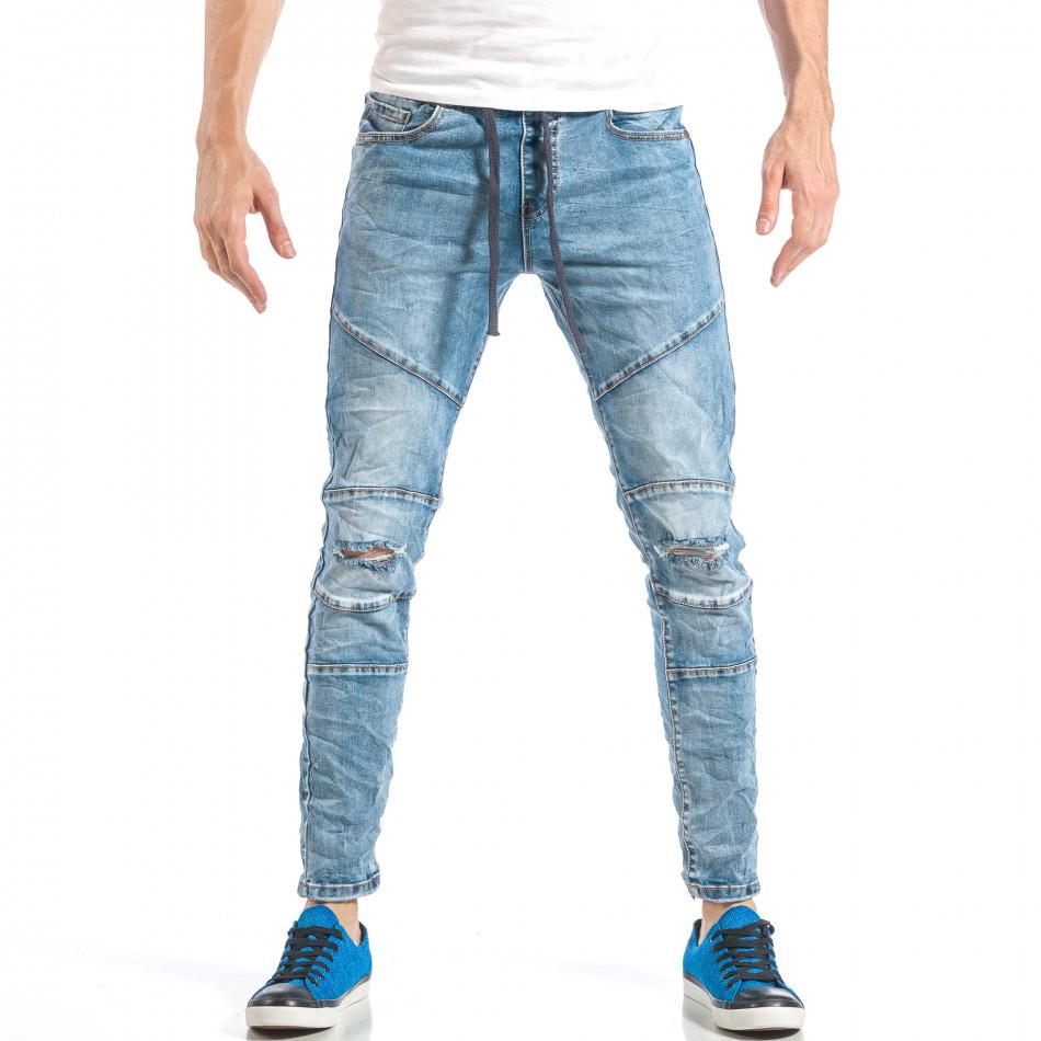 Рокерски сини мъжки дънки с ластик it040518-5