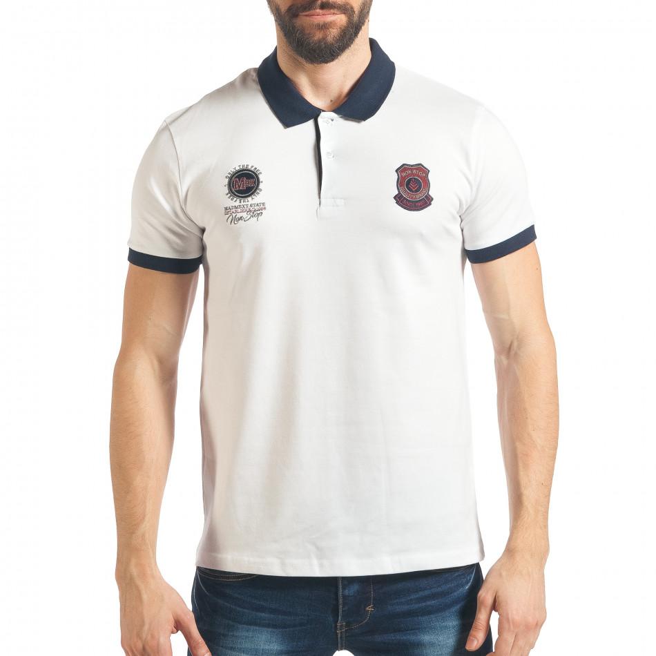 Мъжка бяла тениска с емблеми tsf020218-59