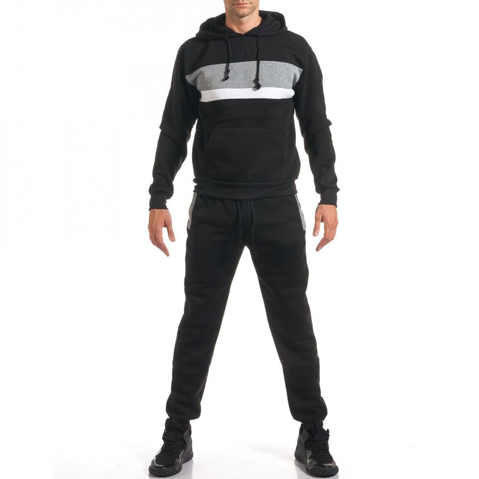 Мъжки черен спортен комплект с 2 ленти отпред it160916-84