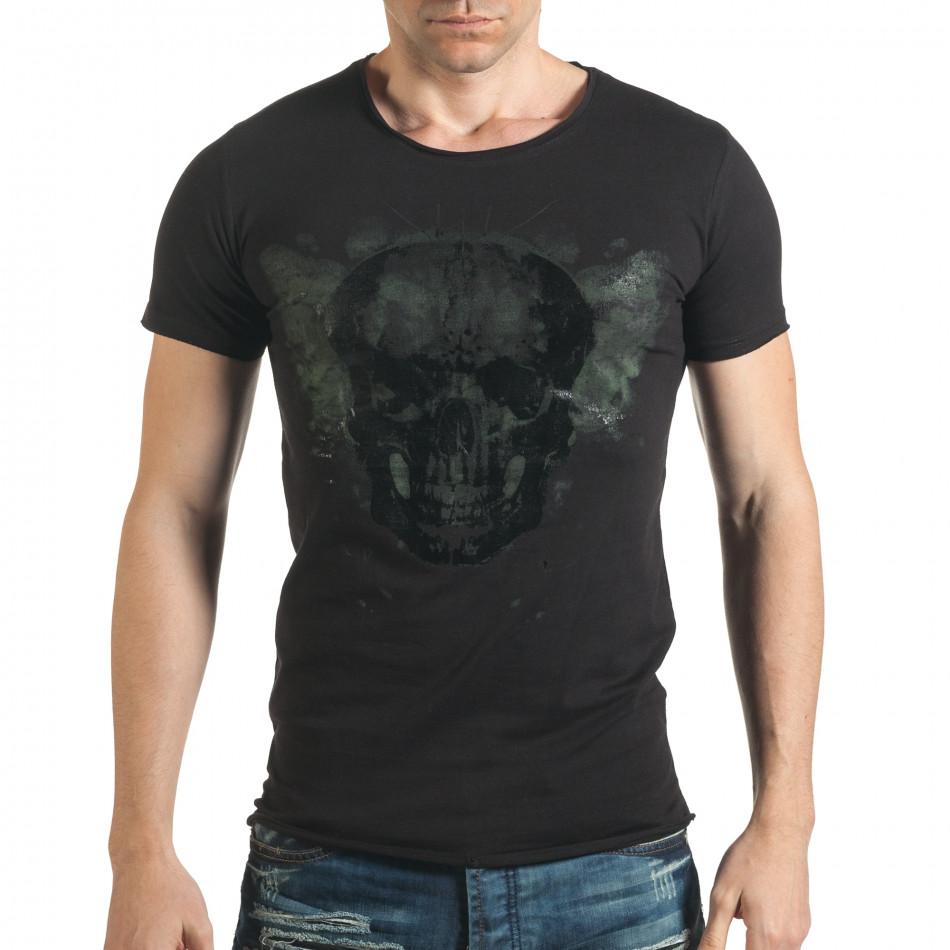Черна тениска с голям череп отпред il140416-14