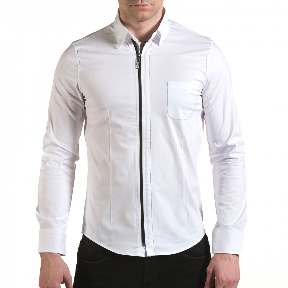 Мъжка бяла риза с цип il170216-91