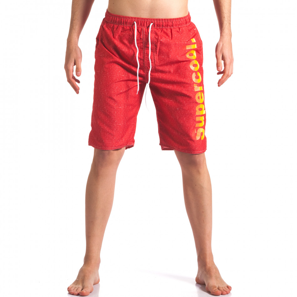 Мъжки червени бански с надпис it250416-46