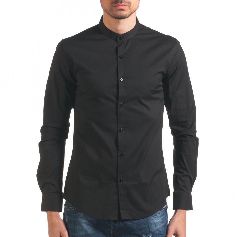 Черна мъжка риза с попска яка it250416-100