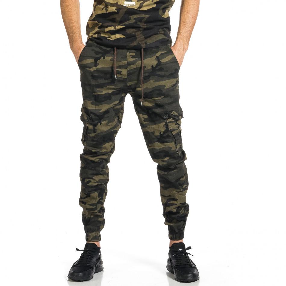 Мъжки карго панталон зелен камуфлаж tr270421-5