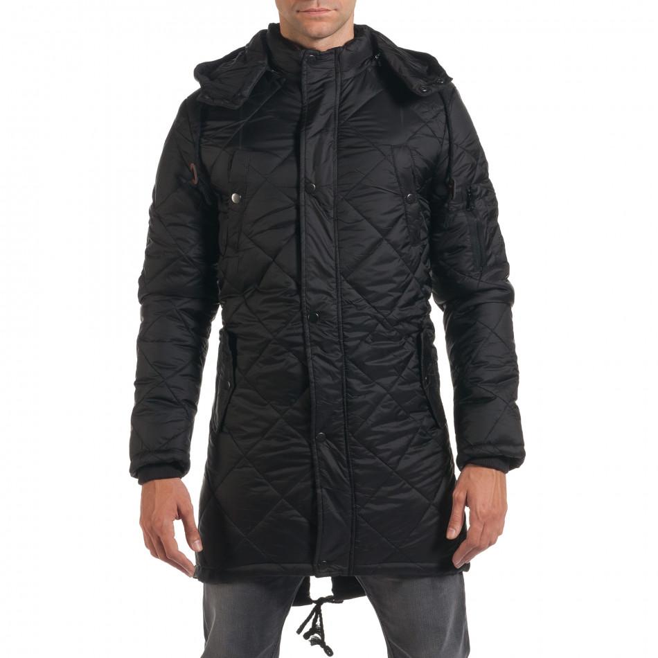 Мъжко дълго зимно яке в черно с качулка it190616-9