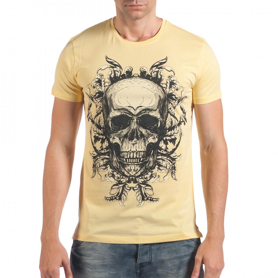 Мъжка жълта тениска с череп il060616-31
