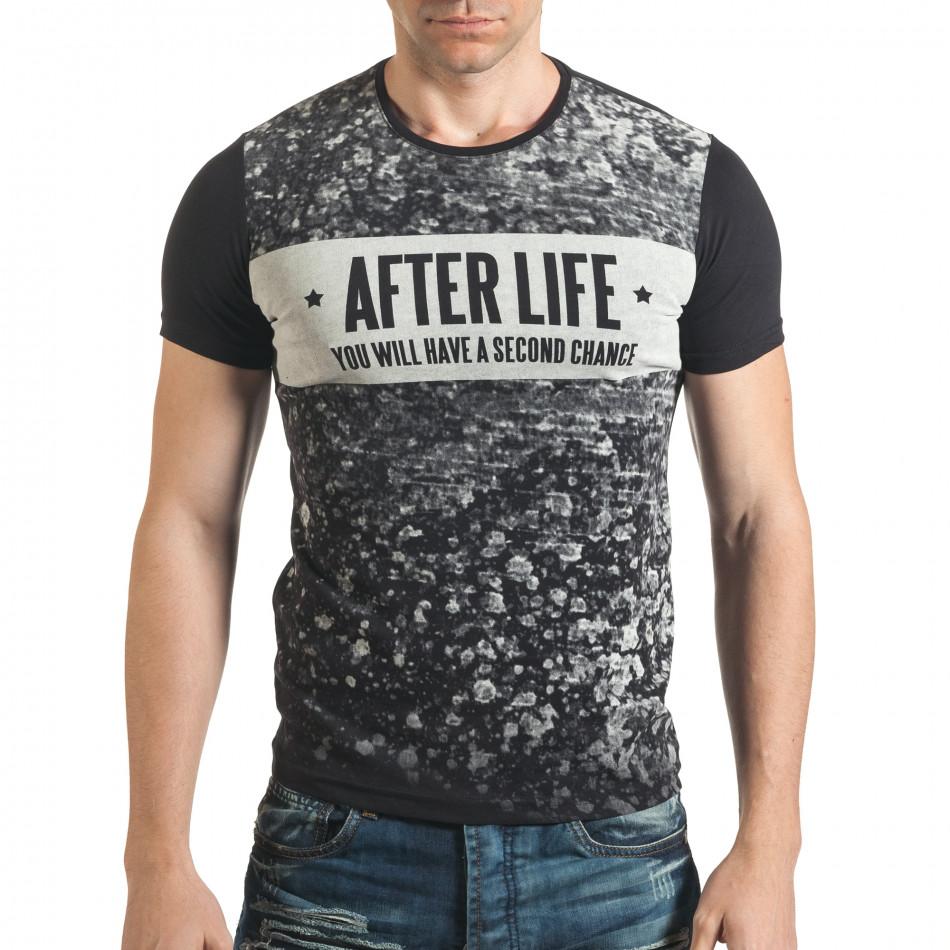 Мъжка черна тениска с гъзарски надпис отпред il140416-18