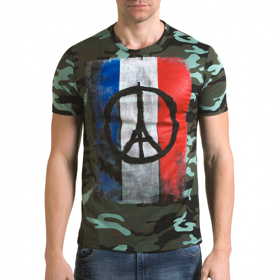 Мъжка тениска светло зелен камуфлаж с принт it090216-65