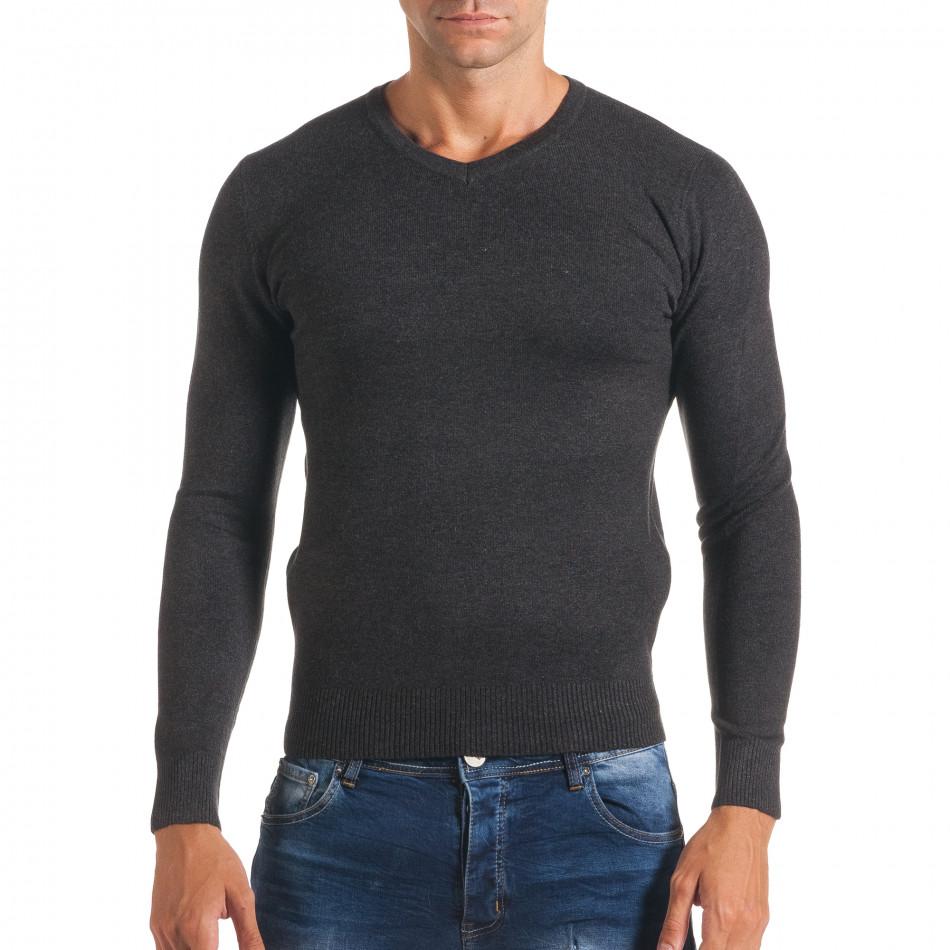 Мъжки тъмно сив изчистен пуловер с остро деколте it170816-48