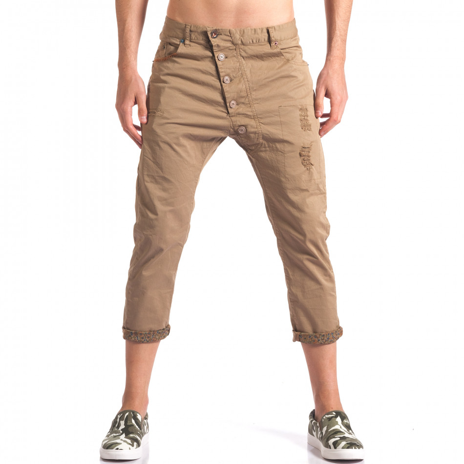 Мъжки кафяв панталон 7/8 тип потури it250416-28