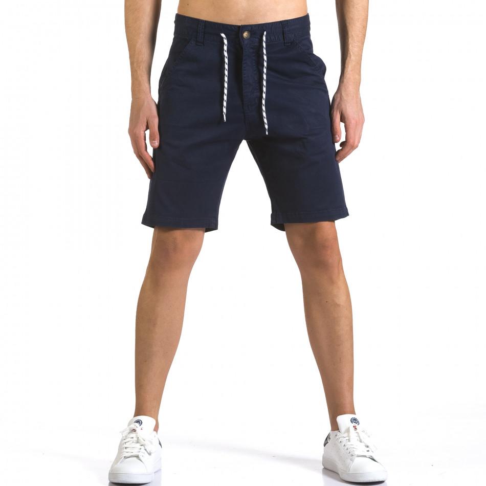 Мъжки тъмно сини къси панталони с връзки it110316-41