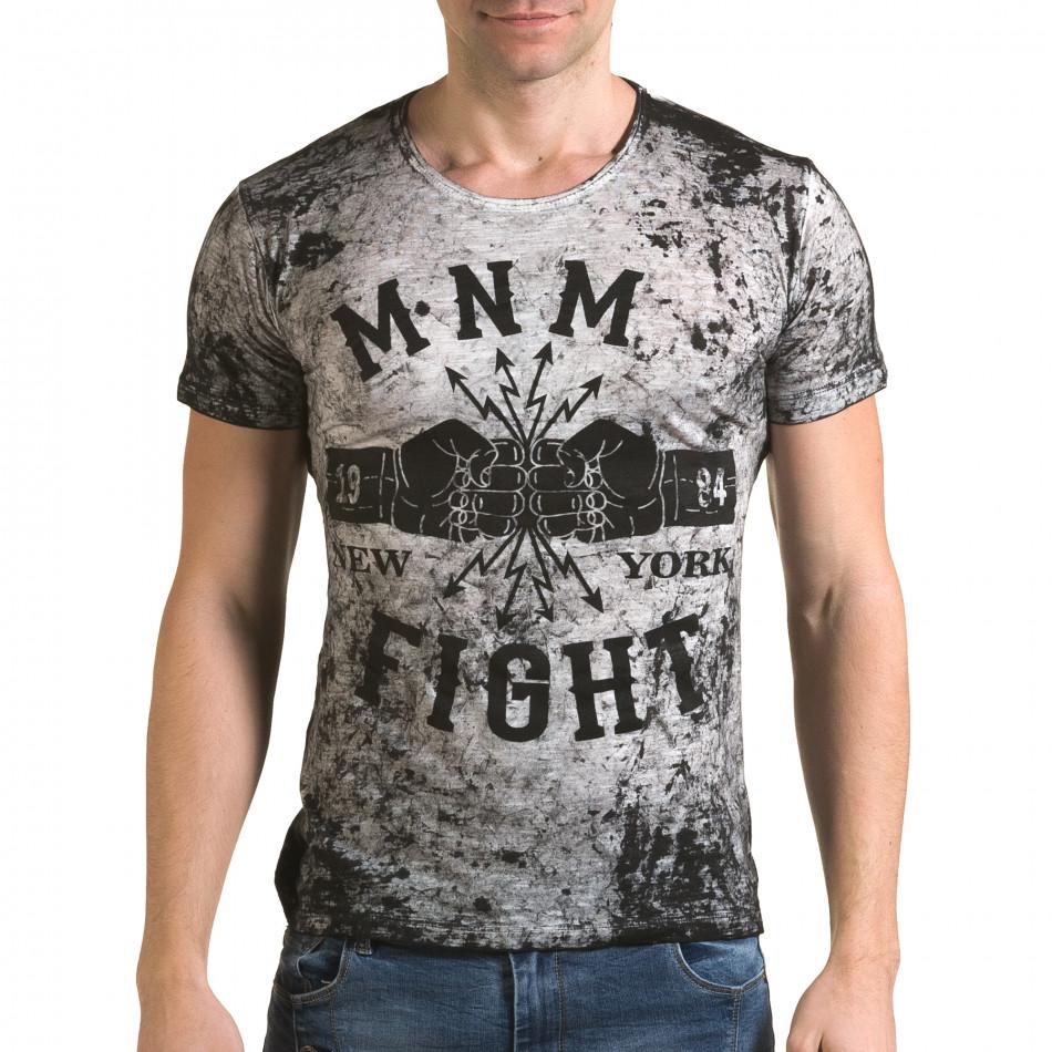 Мъжка сива тениска с 2 юмрука отпред il120216-10