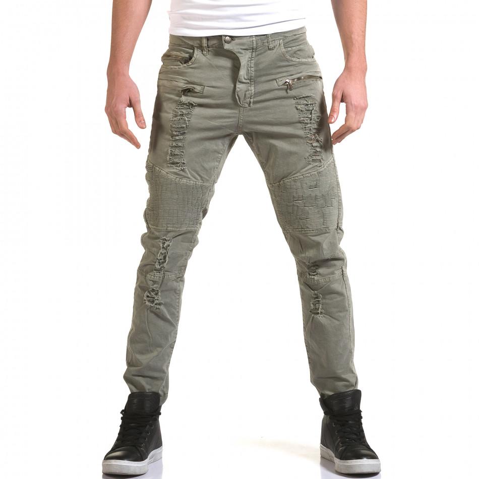 Мъжки сив панталон с хоризонтални шевове it090216-8