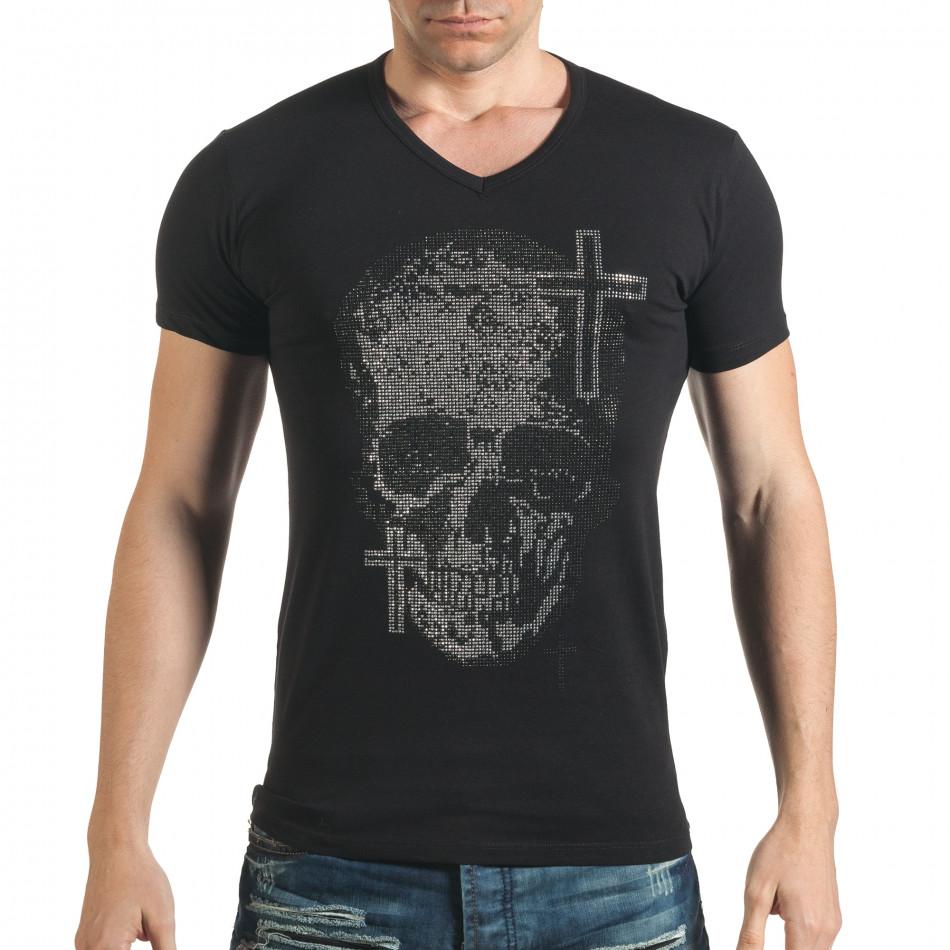 Черна мъжка тениска с череп от сребристи и черни камъни il140416-9