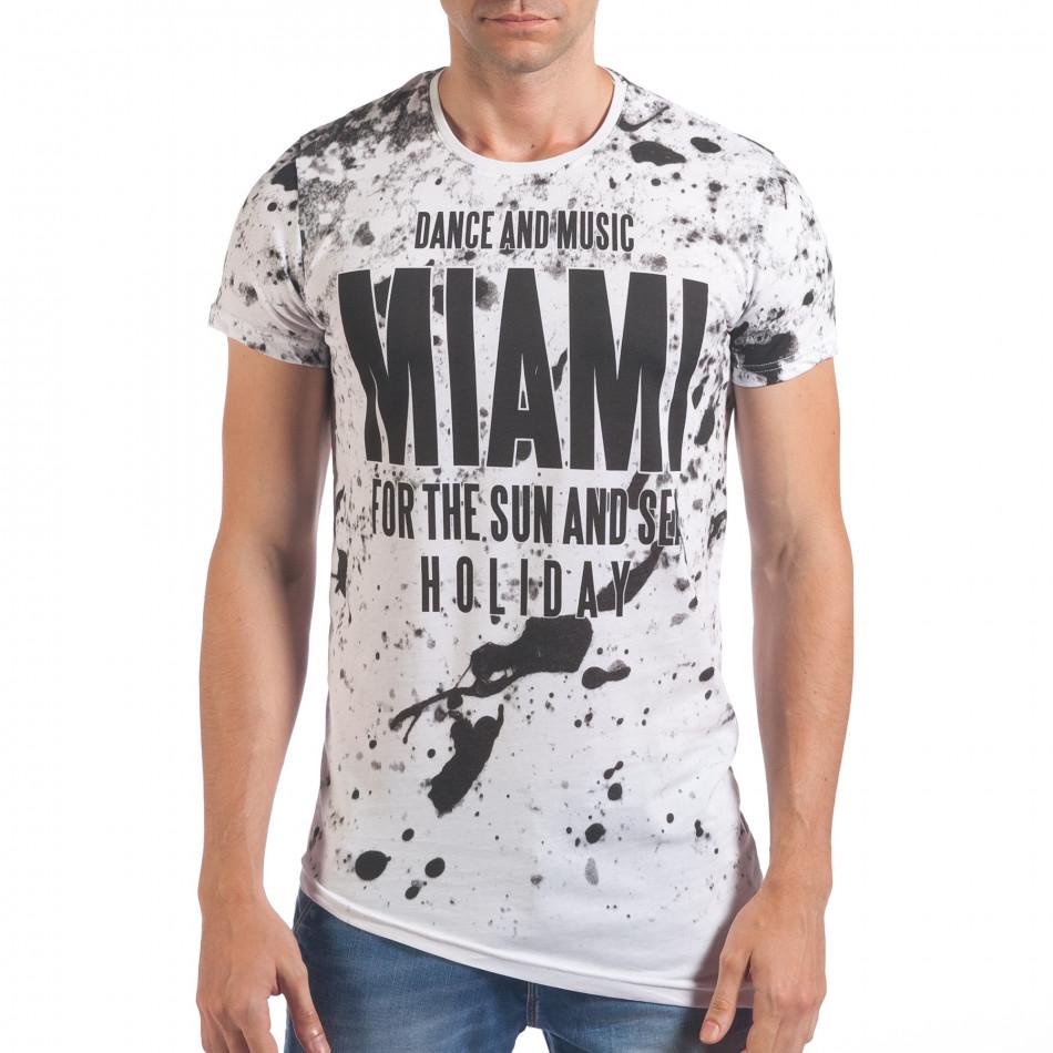 Мъжка бяла тениска с надпис Miami отпред il060616-70