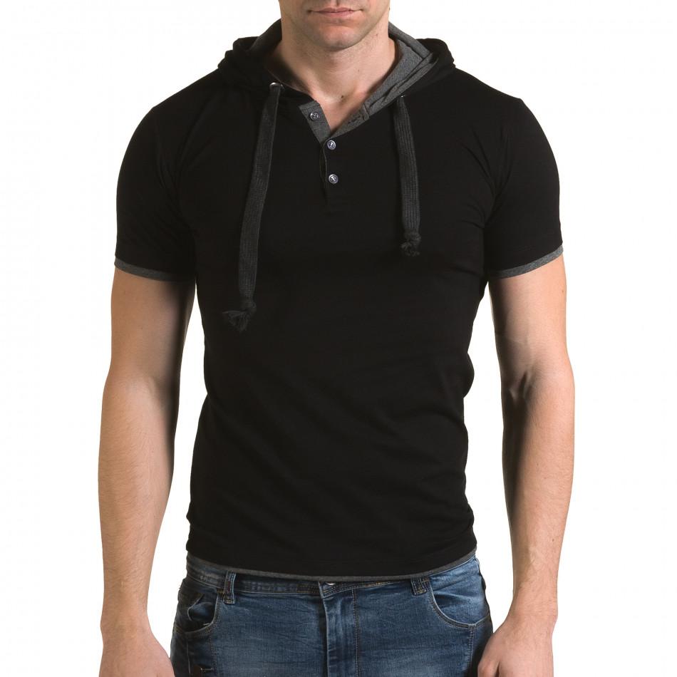 Мъжка черна тениска с качулка il120216-60