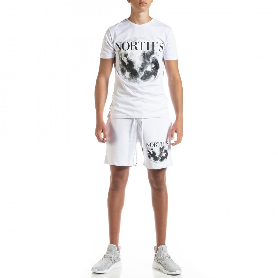 Бял мъжки спортен комплект Moon tr010720-1