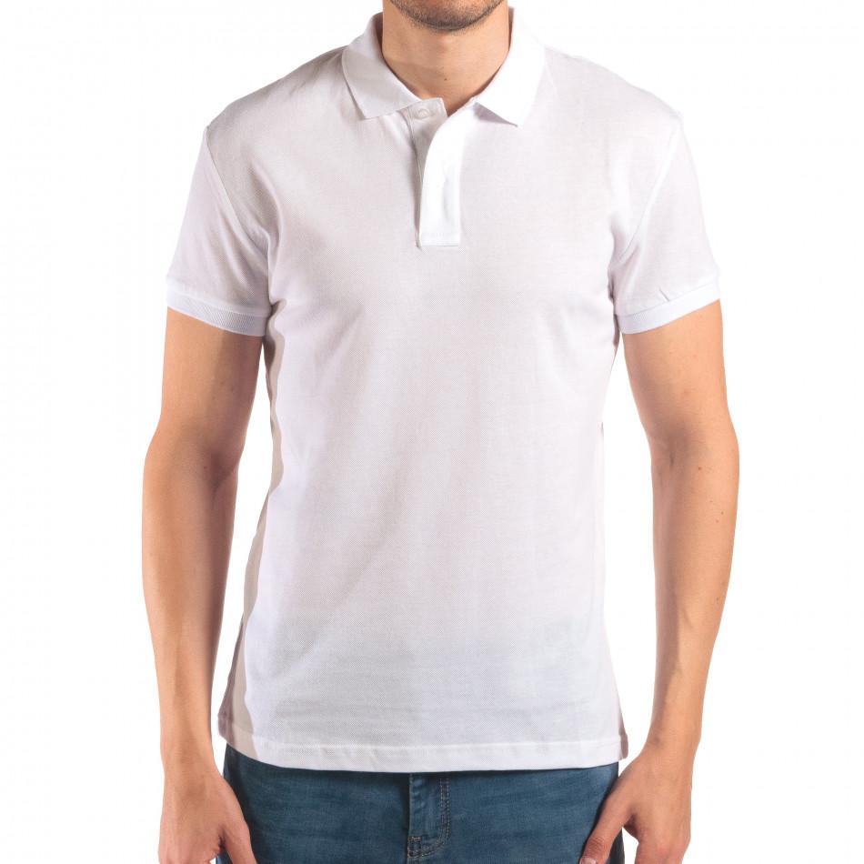 Мъжка бяла тениска с яка изчистен модел it150616-39
