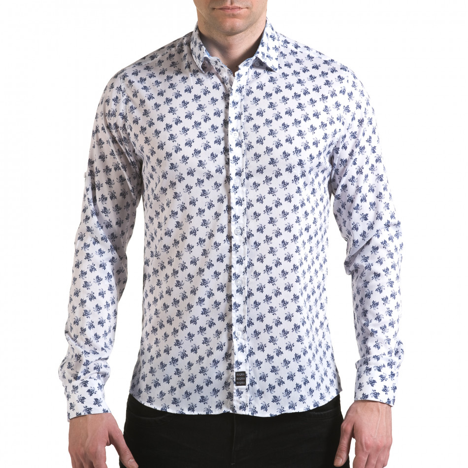 Мъжка бяла риза с флорален принт il170216-126