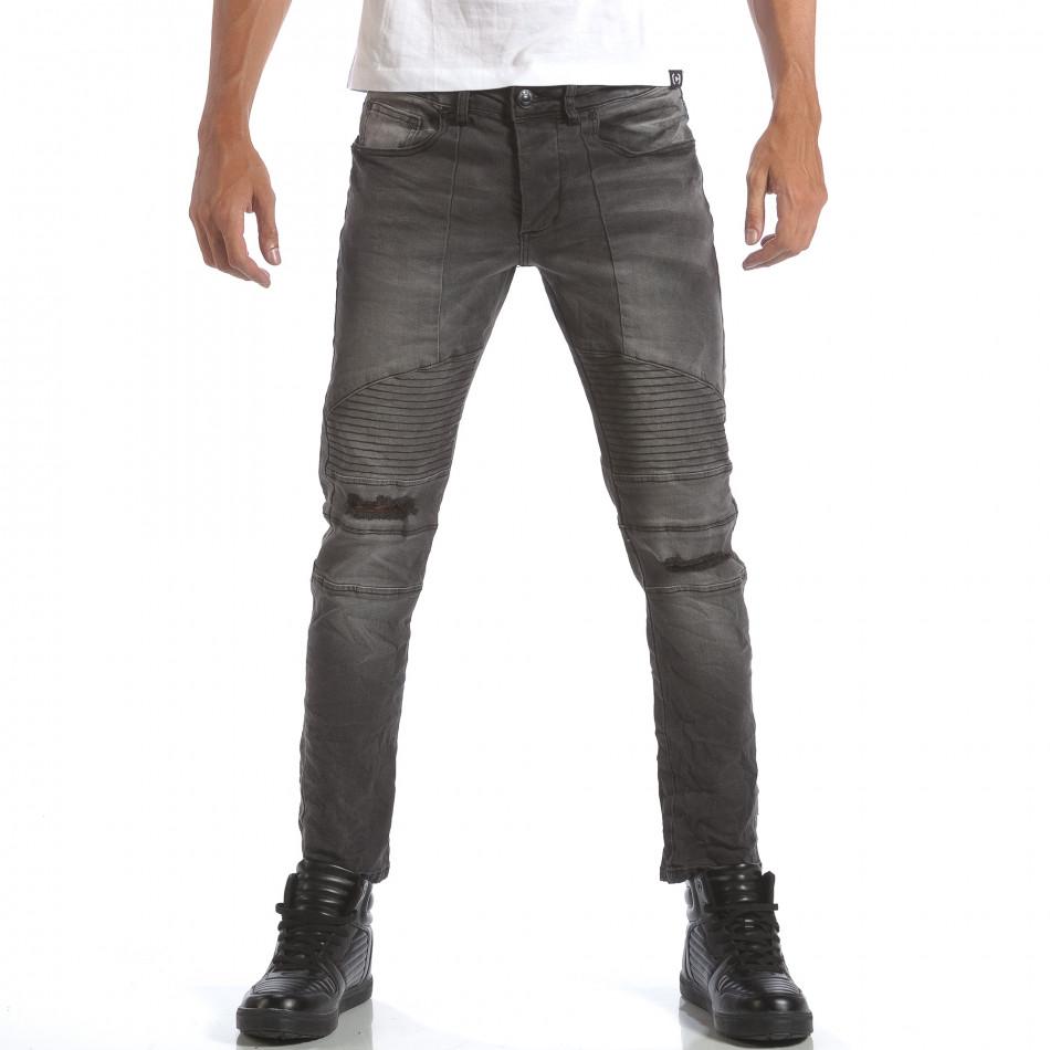 Мъжки сиви дънки със скъсвания на коленете it160817-9
