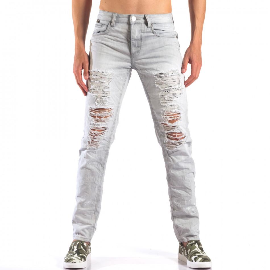 Мъжки сиви дънки с големи скъсвания it160616-21