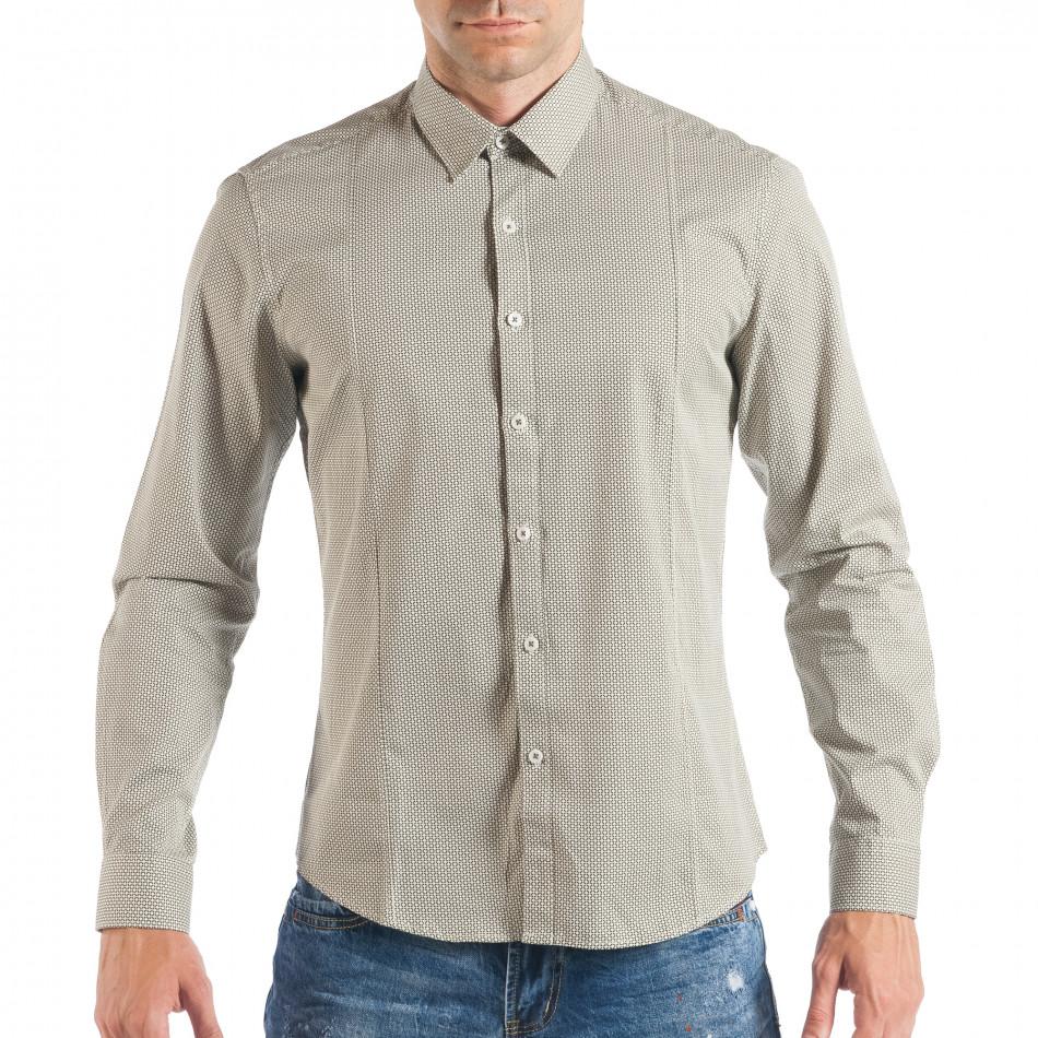Мъжка бежова риза с дребен класически десен it050618-12