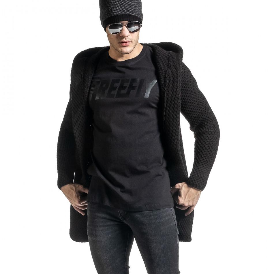 Структурирана черна жилетка реглан ръкав tr231220-14