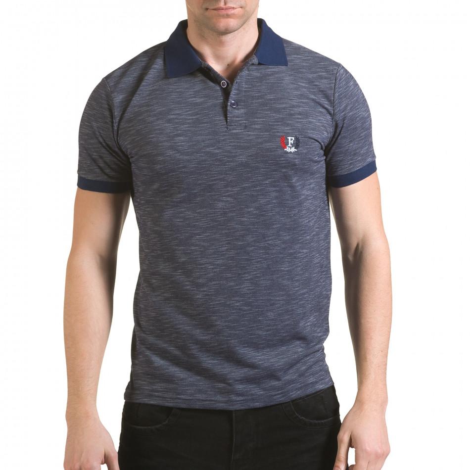 Мъжка синя тениска с яка с лого il170216-41