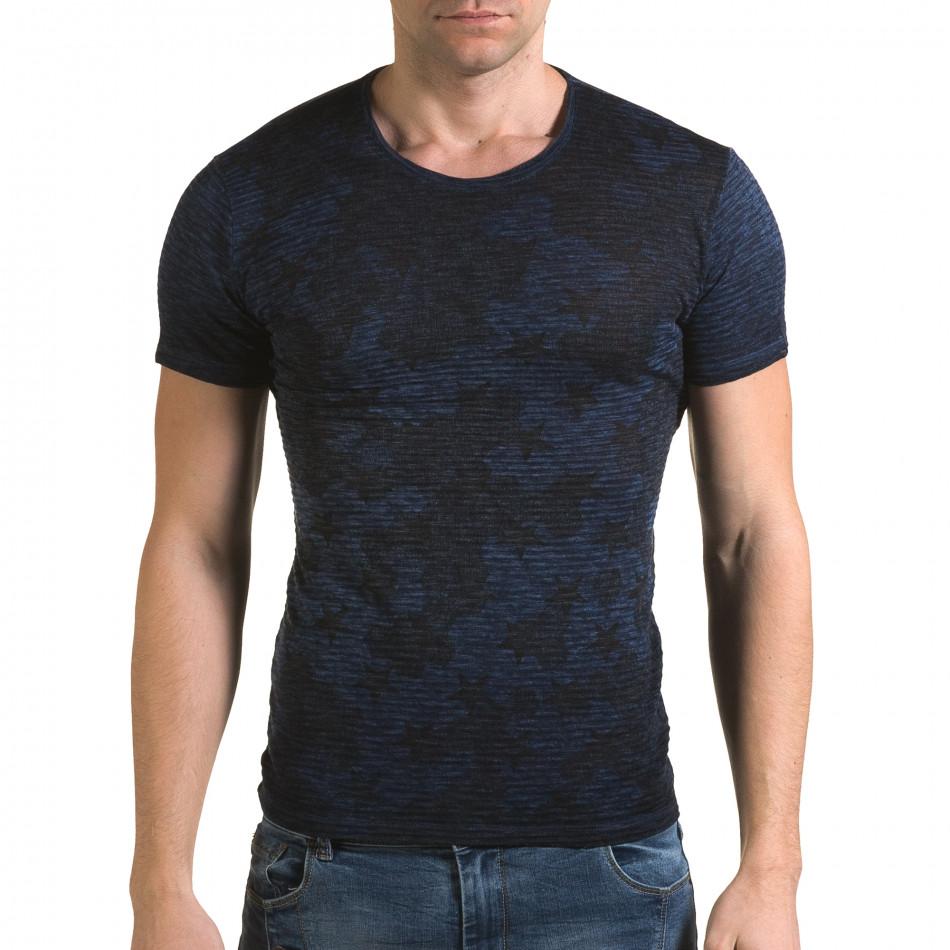 Мъжка синя тениска със звезди il120216-48