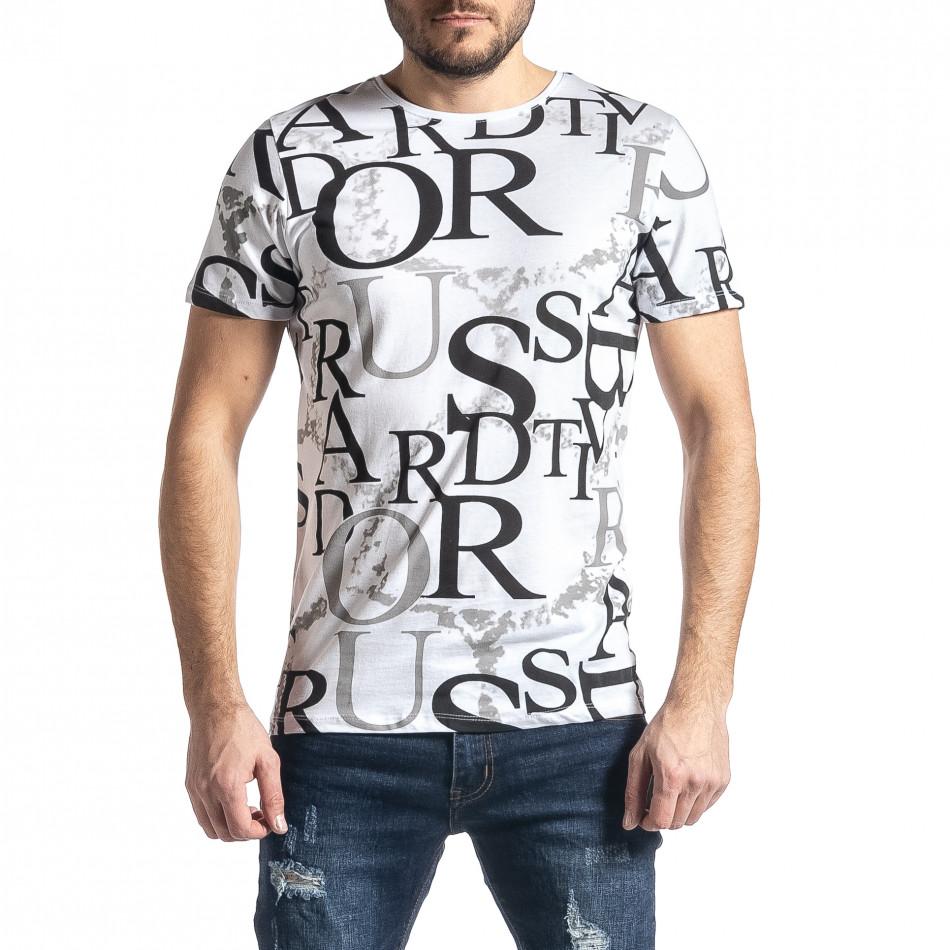 Мъжка бяла тениска с десен tr010221-1