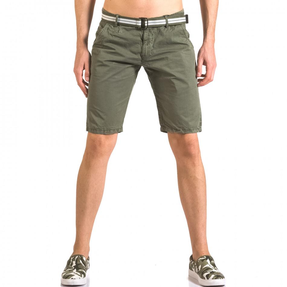 Мъжки зелен къс панталон с текстилен колан ca050416-64