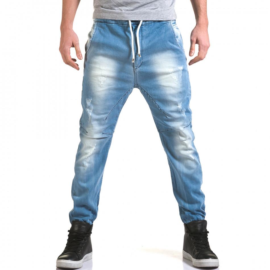 Мъжки светло сини дънки с кройка на потури it090216-18