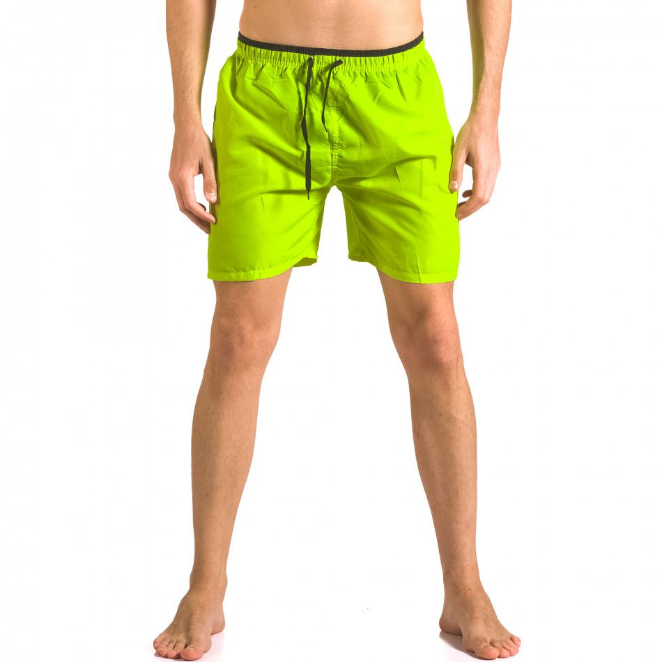 Неоново зелени бански тип шорти с връзки ca050416-25