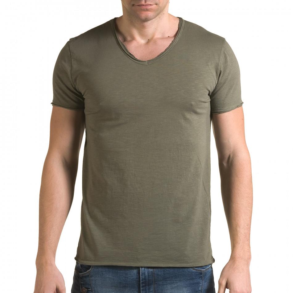 Мъжка зелена тениска изчистен модел it090216-76