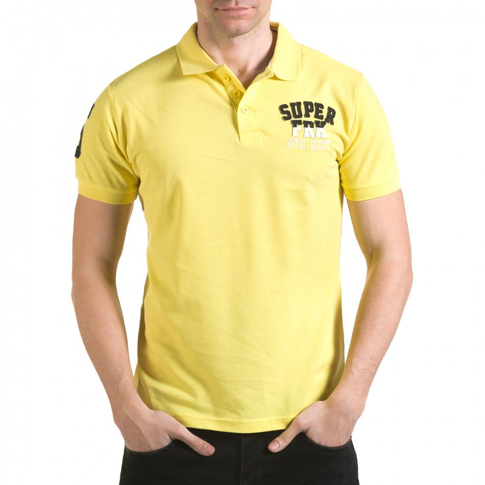Мъжка жълта тениска с яка с релефен надпис Super FRK il170216-22