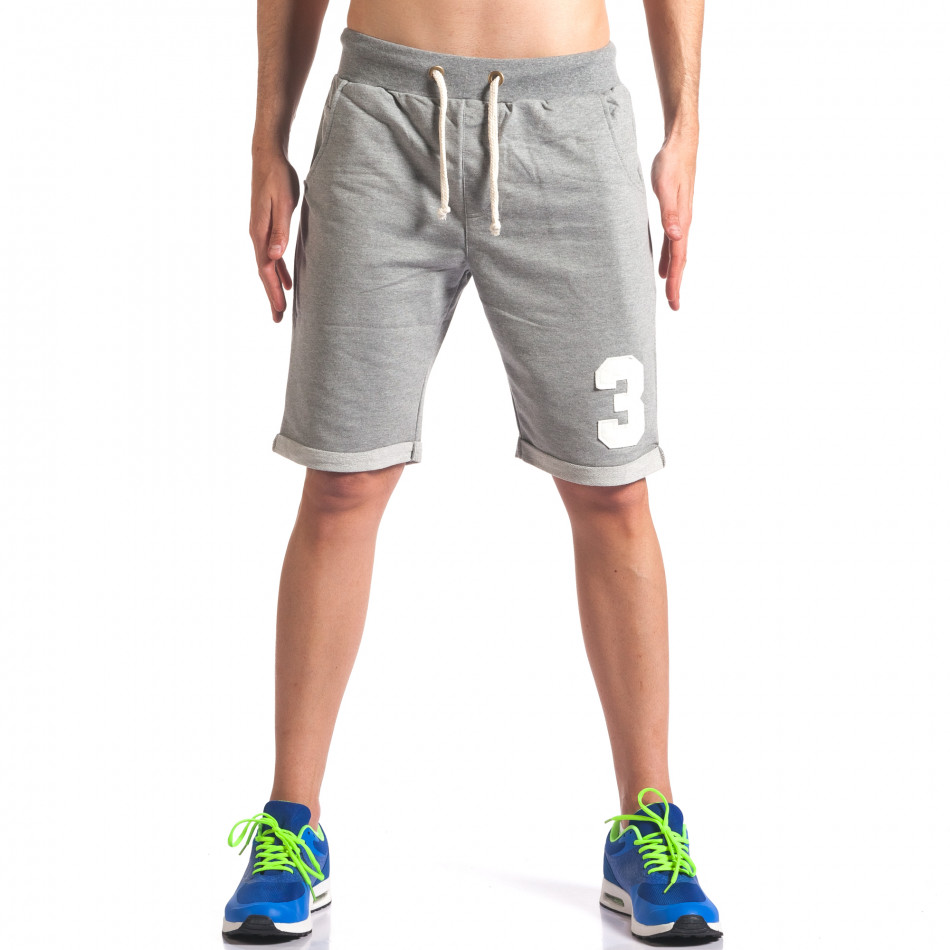 Мъжки сиви шорти за спорт с номер it260416-23