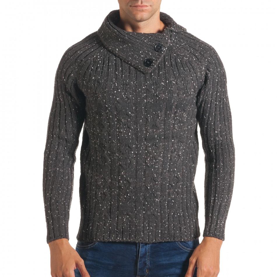 Мъжки сив зимен пуловер с малки бели точки it170816-51