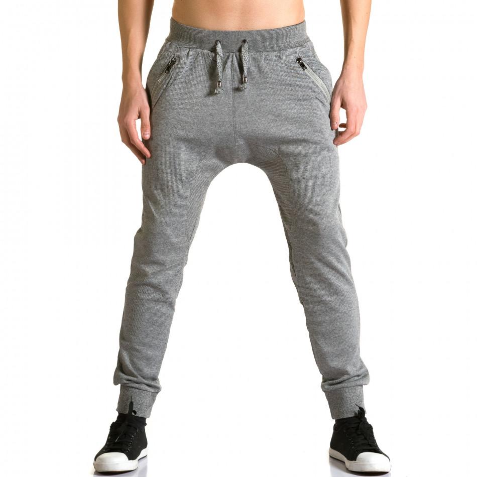 Мъжки светло сиви потури с ципове до джобовете ca190116-17