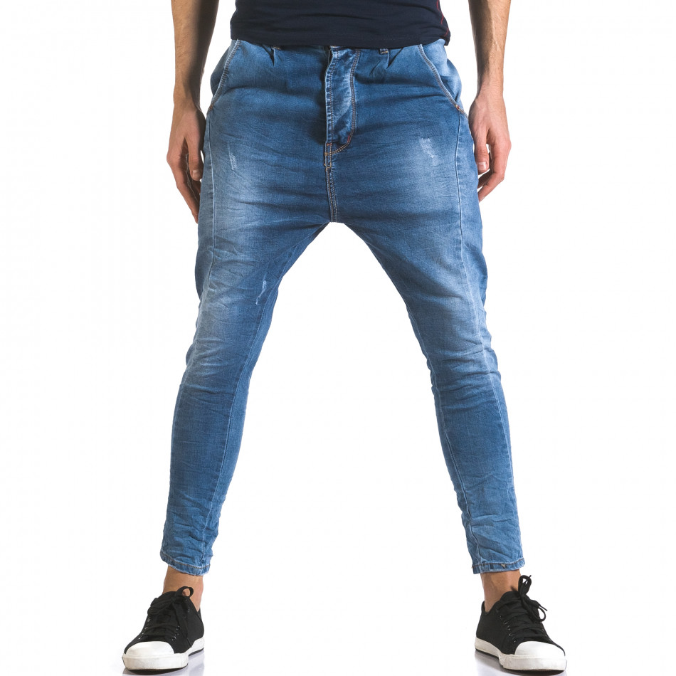 Мъжки светло сини дънки с много смъкнато дъно it110316-25