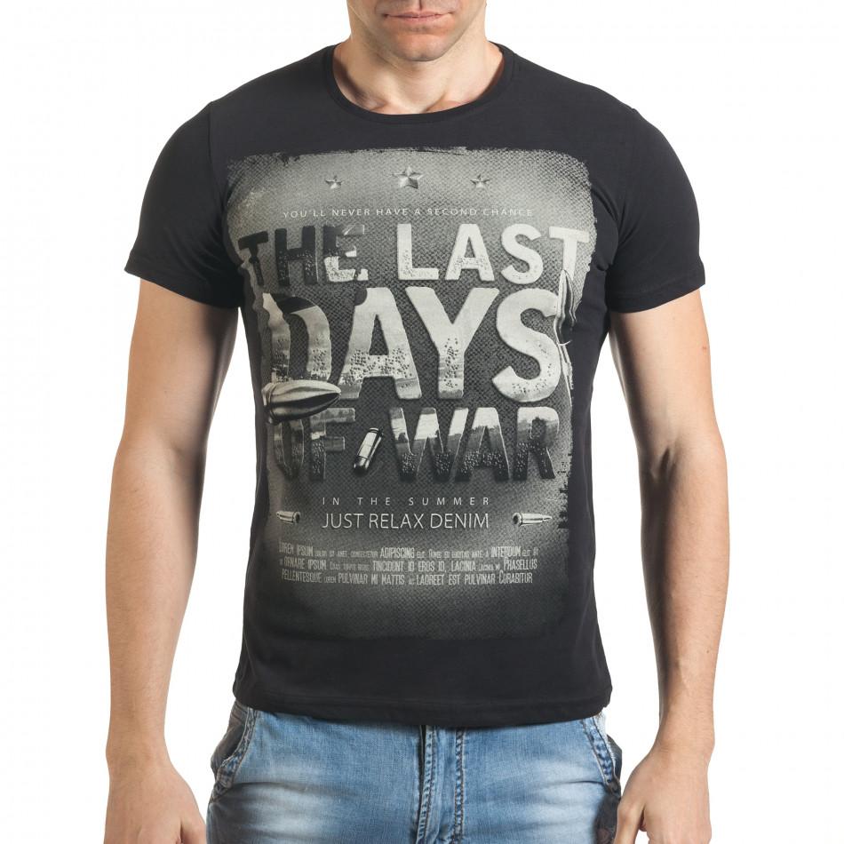 Мъжка черна тениска със сив принт и надпис il140416-23