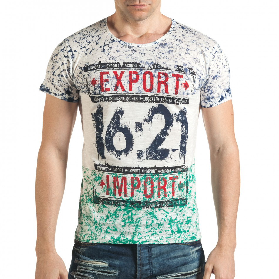 Бяла тениска със син и зелен принт il140416-60