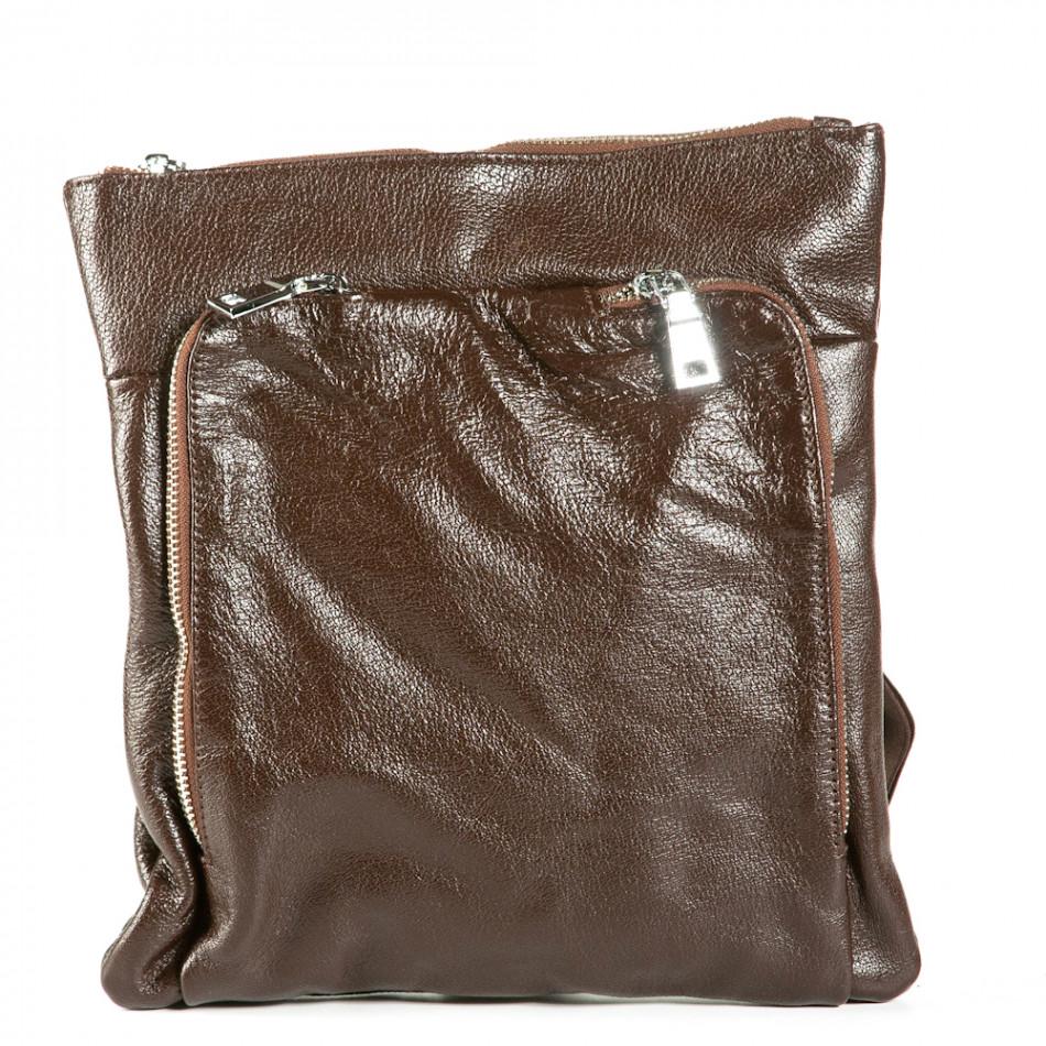 Чанта през рамо с външен джоб 1236-brown