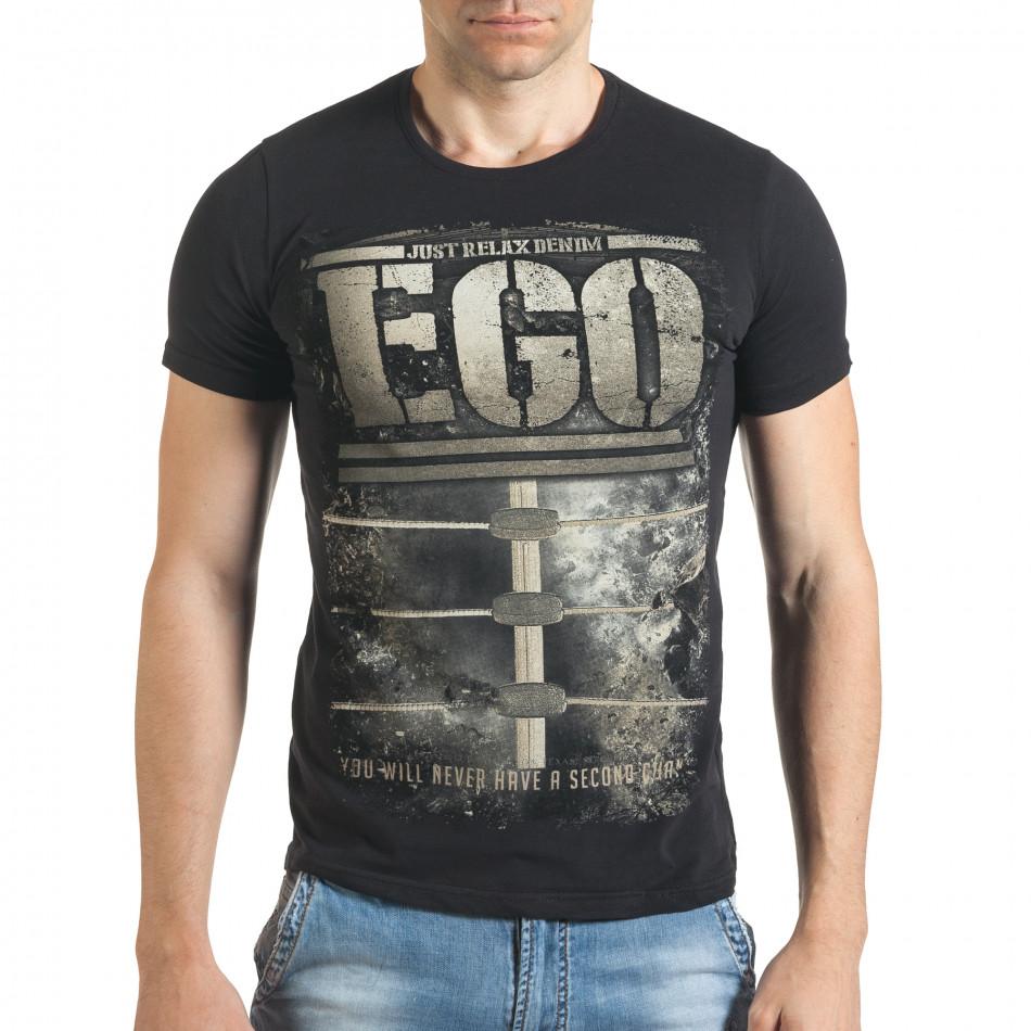 Черна мъжка тениска с голям бежов принт il140416-30