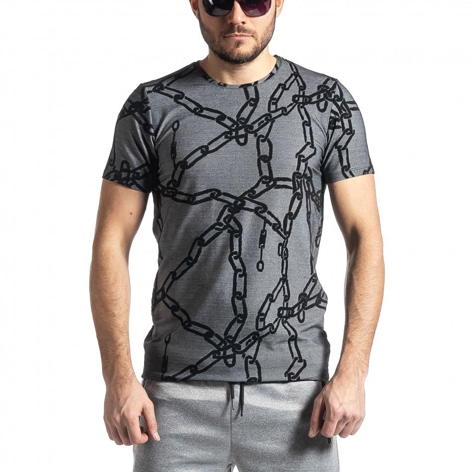 Мъжка тениска Chains сив меланж tr010221-24
