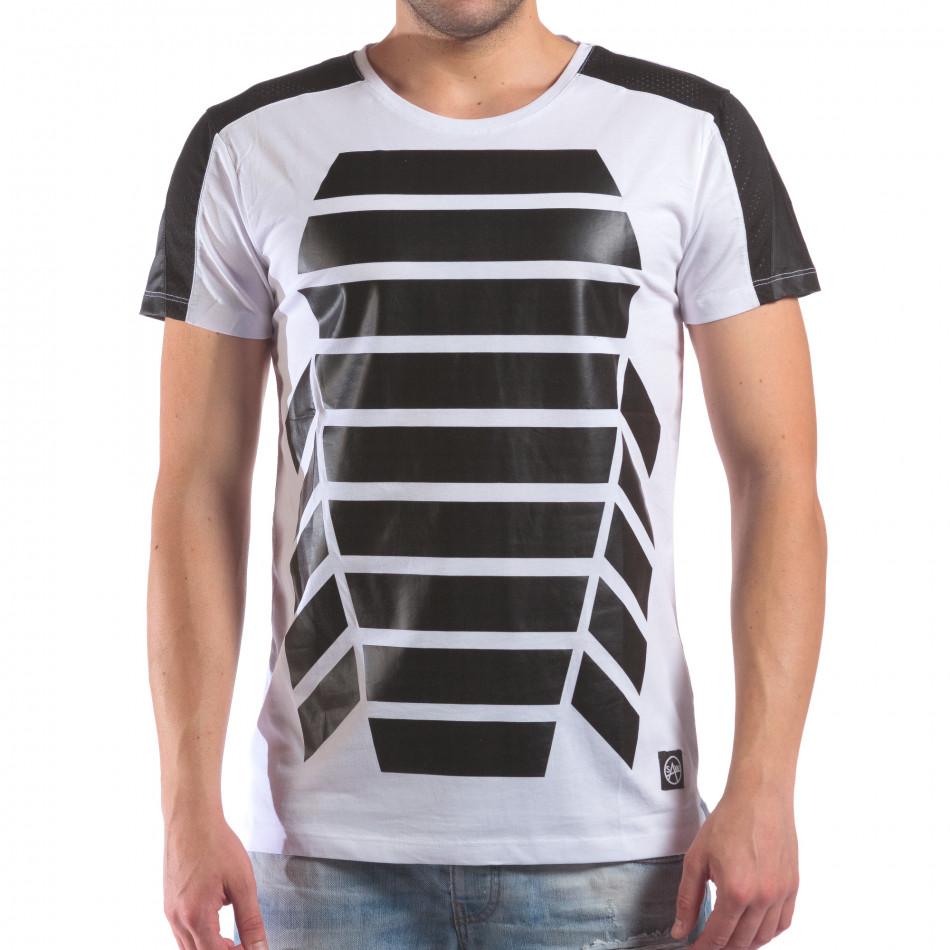 Мъжка бяла тениска с геометричен принт il210616-19