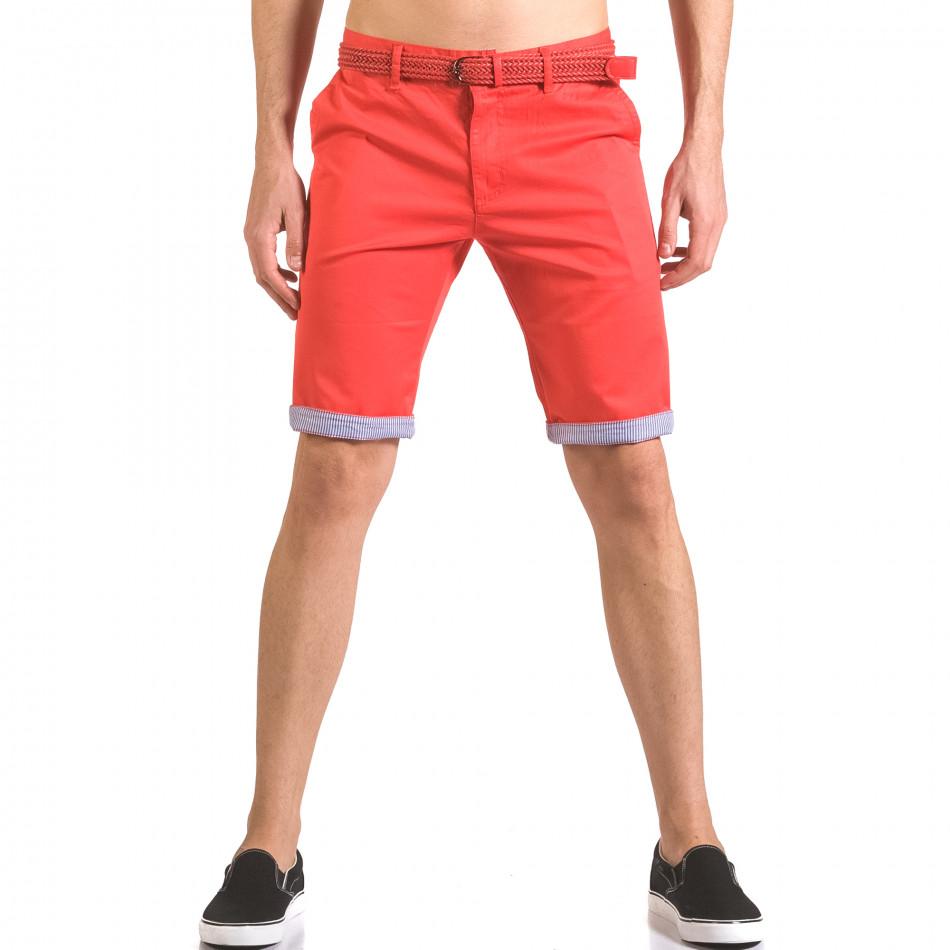 Мъжки червен къс панталон с плетен колан ca050416-55